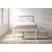 Halkyn White and Oak Guest Bed at the Bed and Mattress Centre