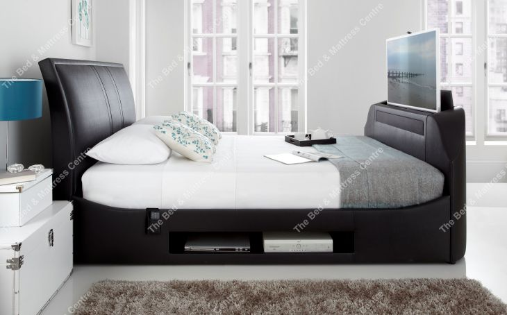 UK King Maximus TV Multimedia bed in black by Kaydian