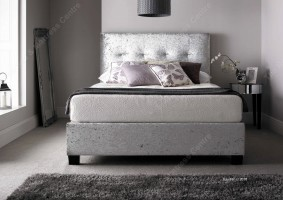 Walkworth crushed velvet silver at the Bed and Mattress Centre